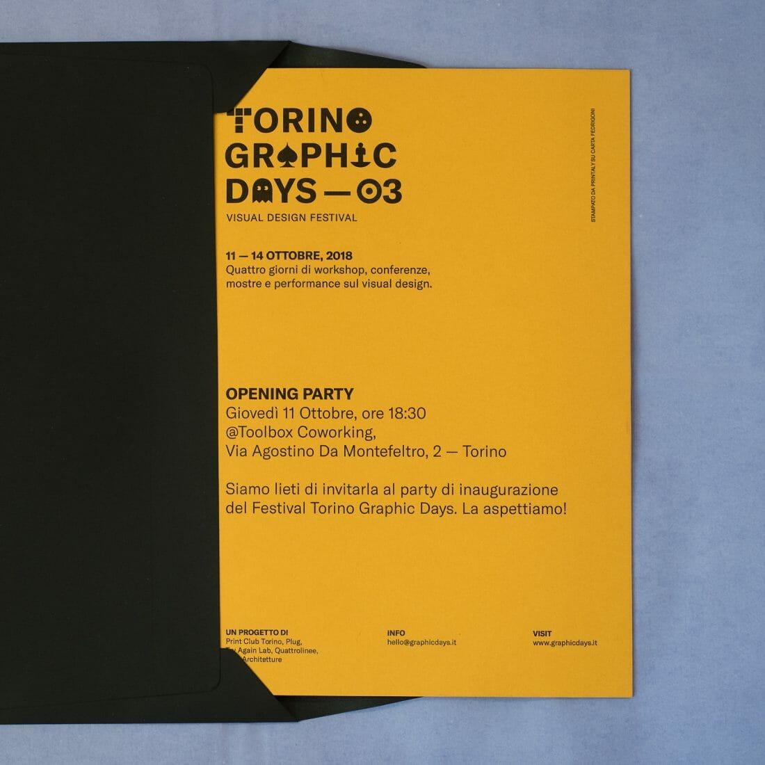 Invito per il Torino Graphic Days. Stampa a cura di Printaly